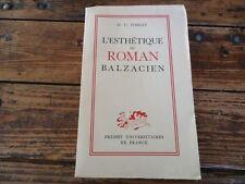 LITTERATURE - L'ESTHETIQUE DU ROMAN BALZACIEN - H.U.FOREST - 1950