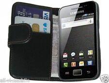 Negro Cuero Billetera Abatible Estuche para Samsung S5839i Galaxy Ace-Cubierta Petaca