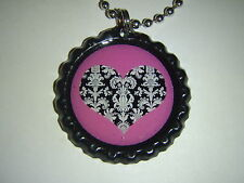 Heart - Lacey dark Pink BOTTLE Cap Necklace - * Free Chain *- handmade