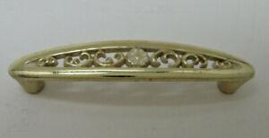 "Vintage Ajax Cabinet and Drawer Pull Brass White Flower W/Screws NOS 3"" Center"