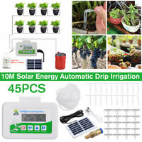 45Pcs Auto Solar Panel Drip Irrigation System Self Watering Plant Timer 10M Hose