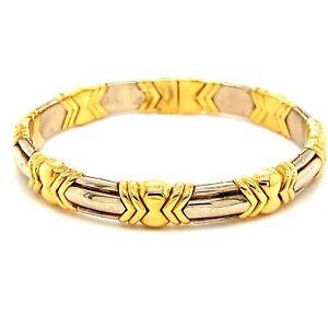 Bvlgari White and Yellow Gold Open Cuff