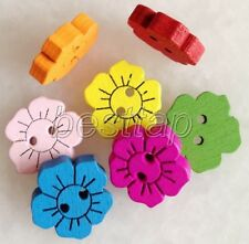 100pcs Mixed Color Flowers Shape Wooden Buttons Fit Sewing/Scrapbook snk204