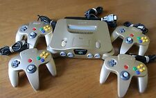 Gold Nintendo 64 USA Gaming System Complete Official Toys R US ~ Super Rare Lot!