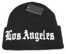 Los Angeles Skull Cap Cuffed Beanie Winter Knit Hat LA City Cuff Black NWT