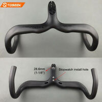 "1-1/8"" Carbon Road Bike Integrated Handlebar Stem Racing Drop Bar 400/420/440mm"