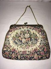 vintage jr miami tapestry handbag purse gold floral old fashion couple