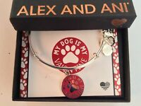 Alex and Ani My Dog is My Valentine Bangle Bracelet Shiny Silver Tag Box Card