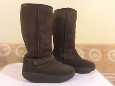 Skechers Shape Ups XF Avalanche Chocolate Brown Suede Winter Boots UK 5.5
