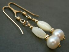 Natural White Freshwater Pearls & Vintage Mother of Pearl & Rolled Gold Earrings