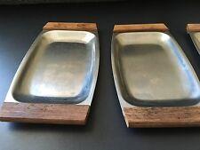 "Vintage (4)  ""Arnart"" Stainless Steel Japan Appetizer Trays Wood Handles"