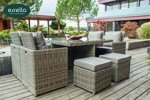 ESSELLA Polyrattan Sitzgruppe Ess Sitz Garnitur Würfel Cube Gartenmöbel Set NEU