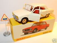 DINKY TOYS ATLAS PEUGEOT 304 CREME BLANC CASSE + PANNEAU 1/43 REF 1428 IN BOX b