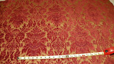 Rust Gold Victorian Print Cut Chenille Upholstery Fabric Remnant  F745