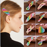 Newly Rainbow Color Pearl Hair Clip Snap Barrette Stick Hairpin Hair Accessory
