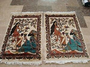 Umre Khayam Pair Hand Knotted Oriental Rug Wool Silk Carpet (3 x 2)'