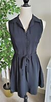 KENSIE WOMEN SLEEVELESS COLLARED BUTTON DOWN BELTED MINI BLACK DRESS SMALL
