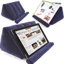 More details for inflatable book holder travel tablet stand bed reading rest foldable dark blue
