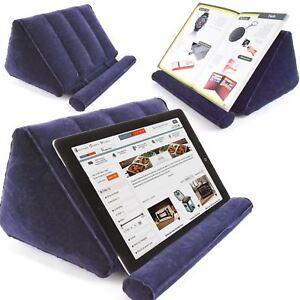 Inflatable Book Holder Travel Tablet Stand Bed Reading Rest Foldable Dark Blue