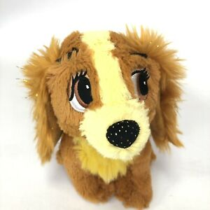 DISNEY LADY And The Tramp TOTE A TAIL Brown & Gold Sparkly Plush Puppy Dog