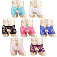 Crotchless Mens Lace See-through Boxer Briefs MALE Gay Panties Shorts Underwear