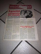 RIVISTA motitalia VESPA  1967 AGOSTINI GIACOMO  CAMPIONE  MONDO MV AUGUSTA 500