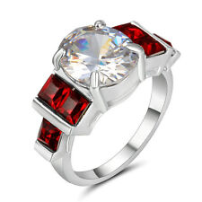 Size 9 Wedding Engagement Ring White Gold Rhodium Statement Cocktail white Topaz