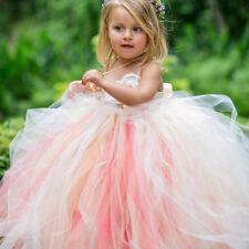 Mädchen Tütü Kleid Tüll Strass Blume Perlen Gr. 110 weiß rosa pink