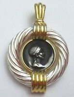 "Coin Style Pendant Signed E. Pearl 1-1/8"" x 1-3/4"" Silver Gold Tones, Vintage"