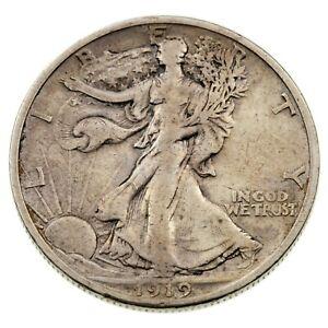 1919-S 50C Walking Liberty Half Dollar in VF Condition, Light Gray Color
