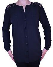 NEW Black Shirt Lace Size 12 Pockets Work Office Career Formal Smart AJ