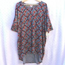 NWT XL LuLaRoe Irma Asymmetric Tunic Top Grey Purple Spring Geometric Design