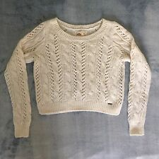 Women's HOLLISTER Cable Knit Sweater Pullover Ivory White Size Medium