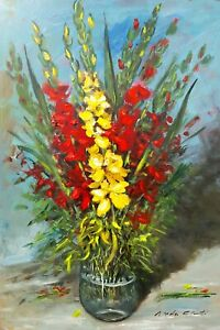 """""""GLADIOLUS FLOWERPOT"""" OLD VINTAGE ITALIAN PAINTING OIL CHIMENTI HOME DECOR ITALY"""