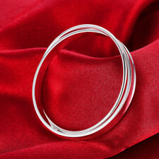 Elegant  925 Sterling Silver Hallmark Solid Two Bangles Sets Gift BN-A271