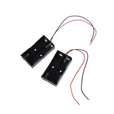 "2 pcs Plastic Battery Storage Case Box Holder for 2 x AA with 6"" Wire Leads ^"