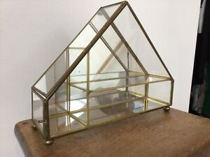 Vintage Glass & Brass Curio Mirrored Cabinet Display Case Triangle 80s Pyramid