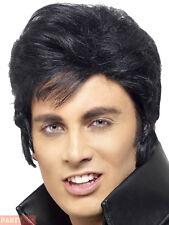 Mens Elvis Wig Adults 50s Rock N Roll 1950s Black Quiff Fancy Dress Accessory