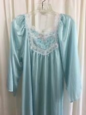 Vtg Brownstone Studio Nightgown Petite Union Made 100% Nylon Light Blue