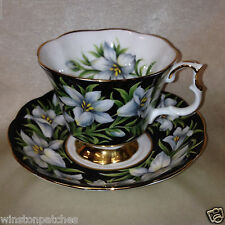 ROYAL ALBERT BONE CHINA PROVINCIAL FLOWERS MADONNA LIILY FOOTED CUP & SAUCER