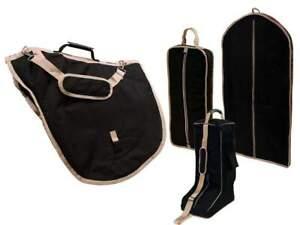 Tahoe English Saddle, Boot, Bridle and Garment Carry Bag Set Black