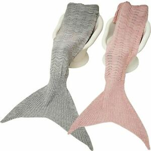 New Adults Wavy Handmade Mermaid tail Crocheted Cocoon Sofa Blanket Quilt Rug