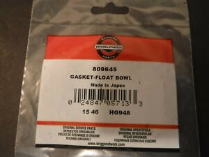 New OEM Genuine Briggs & Stratton 809645 Float Bowl Gasket