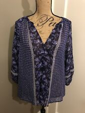 JOIE Women's Blue Floral Print Blouse V Neck Top Size S Small