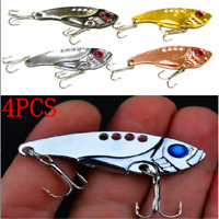 4pcs/SET Lots Fun Metal Fishing Lures Bass CrankBait Spoon Crank Bait Tackle