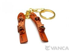 Skis Handmade 3D Leather (L) Keychain/Keyring *VANCA* Made in Japan #56818