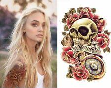 Large Skull Rose Temporary Tattoos Body Art Tattoo Stickers fake rose tattoos