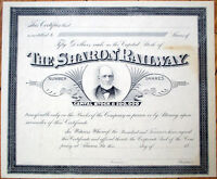 1880 Railroad Stock Certificate: 'Sharon Railway' - Pennsylvania PA
