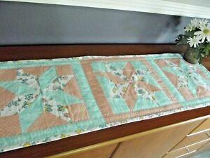 Handmade Quilted Table Runner Mary Engelbreit Prints Star Blocks Teal Peach