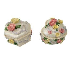 Vintage Fancy Floral Miniature Resin Trinket Jewelry Box Heart Hexagon Set of 2